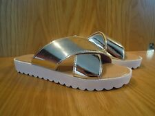 Kurt Geiger Size 7 Gold Sandals Flat Sliders Miss KG Slides Ladies Shoes NEW