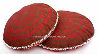 1 Pair Indian Ottoman Large Floor Pillow Covers Ombre Mandala Tapestry Round Art