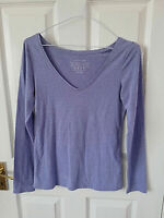 ATMOSPHERE THE STRETCH VEE WOMENS BLUE LONG SLEEVE BLOUSE TOP SIZE 8 V NECK