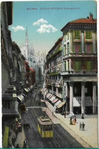 VERY NICE RARE OLD POSTCARD - CORSO VITTORIO EMANUELE - MILANO - ITALY C.1920