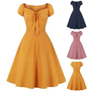 Ladies Vintage Summer Party Rockabilly 50s 60s Swing Women Dress Polka Dot Style