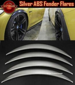 """4 Pieces Glossy Silver 1"""" Diffuser Wide Body Fender Flares Extension For Ford"""