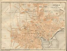 1912 BAEDEKER ANTIQUE MAP- ITALY-PLAN OF CATANIA