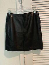 Vintage Petite Sophisticate Black Leather Mini Skirt Size 6