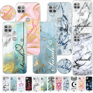 Personalised Name Texture Marble Case For Motorola Moto G 5G Plus G8 Power Cover
