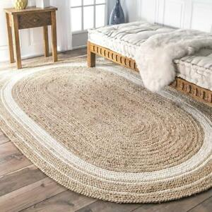 Rug 100% Natural Jute Braided Style Vintage Area Carpet Rug Reversible Oval Rug