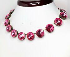Rose Pink Rhinestone Crystal Antique Brass Choker Georgian Collet Women Gift Box