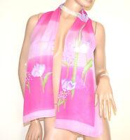 FOULARD étole fuchsia rose 40% soie  femme châle echarpe voilé fleur halsduk G38