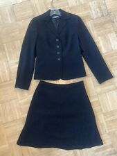 Ann Taylor 2 Piece Petite 2 Suit Black Crepe Fitted Blazer & Skirt, Fully Lined
