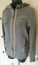KNIT TOP HOODIE SMALL S GREY COTTON FLEECE JUMPER SWEATER RIBBED STRETCH GIO GOI