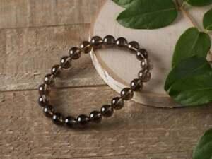 Smoky Quartz 6 mm Handmade Smooth Beads For Men & Women Stretch Genuine Bracelet