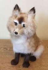 Vintage Fox Figure Real Fur Animal Figurine