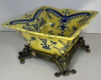 """Yellow with Blue Chinese Bowl with French Style Brass Base 10.5""""diag x 7.5""""x4.5"""""""