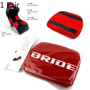 1 Pair JDM BRIDE Racing Red Tuning Pad For Head Rest Cushion Bucket Seat Racing