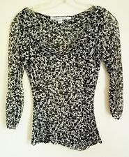 Diane Von Furstenberg ~Silk Black & White ~Shirt Top ~Size P~Stretch~3/4 sleeve