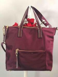 "MICHAEL KORS ""Ariana"" Burgundy Red Nylon Large Crossbody Bag"