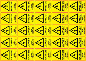 DANGER HIGH VOLTAGE health and safety signs stickers 25No 55x40mm
