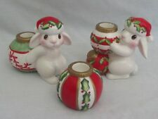 Fitz & Floyd 3 Piece Christmas Bunny Blooms Candlestick Holders