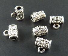 150pcs Tibetan Silver Pretty Tube Shaped Bails 7x7mm 144