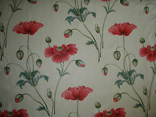 """SANDERSON CURTAIN FABRIC DESIGN """"Persian Poppy"""" 5.7 METRES PINK AND TEAL"""