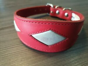 LEATHER WHIPPET DOG COLLAR SUEDE BACKING PADDED 12-14 INCH SAMPLE 24