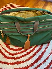 LL Bean Green Canvas Duffle Bag wLeather Trim and Shoulder Strap