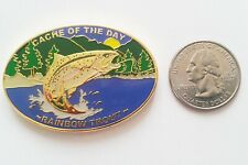 ☆ Cache of the Day Geocoin Rainbow Trout Gone Fishi'n Fish Unactivated AE