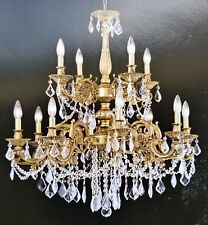 Palace Royal 12 Light  Antique Gold  Crystal Chandelier Light 30X32