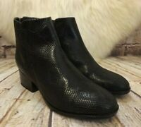 Womens Clarks Elvina Dawn Black Leather Zip Up Mid Heel Ankle Boots UK 4 EUR 37