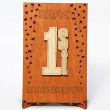 1st Anniversary Wood Card Gift 1 Year first One Years Paper Wedding Anniversary