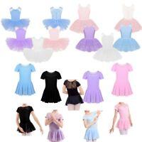 Girls Lace Ballet Dance Dress Gymnastics Leotard Tutu Skirt Ballerina Costume