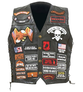 Diamond Plate Rock Design Genuine Buffalo Leather Biker Vest With 42 Patches 3x