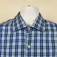 Peter Millar Mens Blue Purple Check Plaid Dress Button Shirt Size Large L