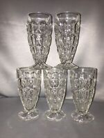 Vintage Set 5 Footed Clear Ice Tea Tumbler Water Glasses Goblets Bubble Design