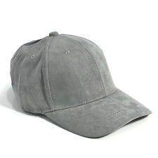Unisex Men Women Faux Suede Baseball Cap Snapback Visor Sport Sun Adjustable Hat Gray