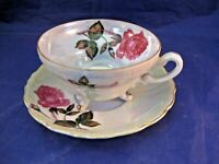 VINTAGE THREE FOOTED TEA CUP AND SAUCER - IRIDESCENT WITH CABBAGE ROSE DECORATIO