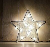 LED Drahtstern Batterie Drahtlichterkette Lichterkette Draht Stern warmweiß 40er