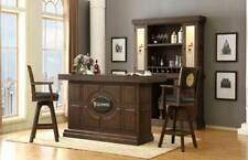 Guinness Dark Walnut 5 Piece Home Bar Set with Back Bar, Hutch & 2 Swivel Stools