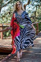 Silk blend Long Kaftan with heavily Embellishment ~ resort wear style caftan