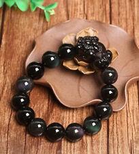 Natural rainbow eye obsidian pi yao beaded bracelet