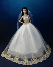 Fashion Princess Party Dress/Wedding Clothes/Gown+Veil For Barbie Doll K02B