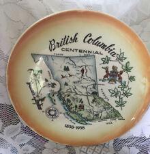 """1958 12"""" British Columbia Canada Centennial Souvenir Collectible Plate Tray"""