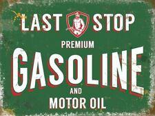 Ultima fermata Benzina & Motor Oil Insegna pubblicitaria benzina in metallo 20x30cm Piastra a parete