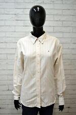 Camicia TOMMY HILFIGER Donna Taglia l Maglia Casacca Shirt Woman a Righe Beige