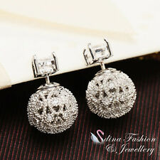 18K White Gold GP Hollow Out Pattern Ball Double Faced Stud Earrings 2 Ways Wear