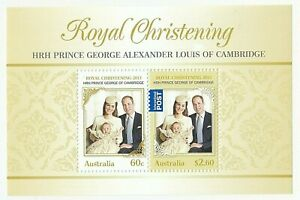 2013 AUSTRALIA MINI SHEET 'ROYAL CHRISTENING - PRINCE GEORGE' - MNH