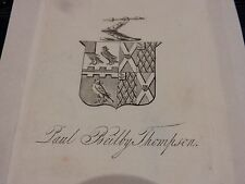 mounted bookplate coat of arms THOMPSON Paul Beilby (1784-1852) Escrick Park