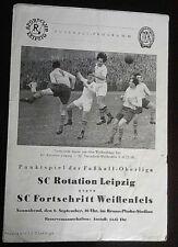 Programm Rotation Leipzig Fortschritt Weißenfels 6.9.1958 DDR 1.FC Lok Leipzig