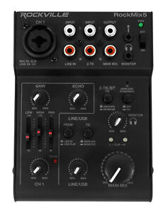 Rockville RockMix 5 Channel Bluetooth USB Podcast Podcasting Recording Mixer