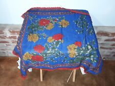Vintage Scarf Blue Red Green Yellow Flower Floral Design 29 x 29